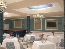 Sichtbarmachung 3D einer Innenarchitektur des Restaurants Stockfoto