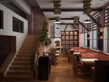 Sichtbarmachung 3D einer Innenarchitektur des Restaurants Lizenzfreie Stockbilder