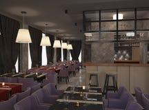 Sichtbarmachung 3D einer Innenarchitektur des Restaurants Stockfotografie
