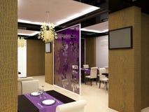 Sichtbarmachung 3D einer Innenarchitektur des Restaurants Stockbild