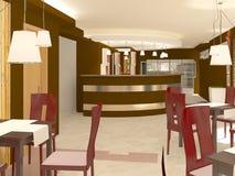 Sichtbarmachung 3D einer Innenarchitektur des Restaurants Lizenzfreie Stockfotografie