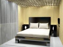 Sichtbarmachung 3D einer Innenarchitektur des Schlafzimmers Lizenzfreies Stockbild