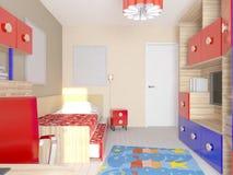 Sichtbarmachung 3D einer Innenarchitektur des Schlafzimmers Lizenzfreie Stockbilder