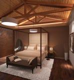 Sichtbarmachung 3D einer Innenarchitektur des Schlafzimmers Stockbilder