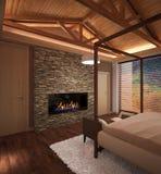 Sichtbarmachung 3D einer Innenarchitektur des Schlafzimmers Stockbild