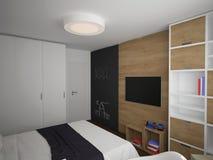 Sichtbarmachung 3D einer Innenarchitektur des Schlafzimmers lizenzfreie stockfotos