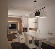 Sichtbarmachung 3D einer Innenarchitektur des Wohnzimmers Lizenzfreies Stockfoto