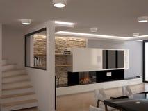Sichtbarmachung 3D einer Innenarchitektur des Wohnzimmers Stockfoto