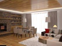 Sichtbarmachung 3D einer Innenarchitektur des Wohnzimmers Lizenzfreie Stockfotos