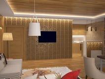 Sichtbarmachung 3D einer Innenarchitektur des Wohnzimmers Stockfotos