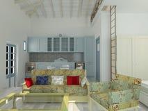 Sichtbarmachung 3D einer Innenarchitektur des Wohnzimmers Lizenzfreies Stockbild
