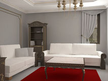 Sichtbarmachung 3D einer Innenarchitektur des Wohnzimmers Stockbilder