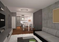 Sichtbarmachung 3D einer Innenarchitektur des Wohnzimmers Stockfotografie