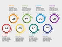 Sichtbarmachungsdiagramm der kommerziellen Daten Ikonen-Vektorschablone der Zeitachse stellen infographic, Meilensteinelemente Pr stockfoto
