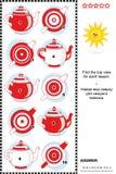Sichtpuzzlespiel - finden Sie die Draufsicht für jede Teekanne Stockbilder