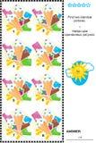 Sichtpuzzlespiel - finden Sie identische Bilder von Eisriegeln und von Kegeln Lizenzfreie Stockfotografie