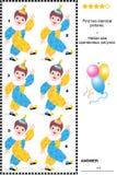 Sichtpuzzlespiel - finden Sie zwei identische Bilder von Clownen stock abbildung