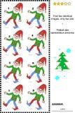 Sichtpuzzlespiel - finden Sie zwei identische Bilder von Gnomen Lizenzfreies Stockbild