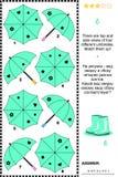 Sichtpuzzlespiel mit den Spitzen- und Seitenansichten von Regenschirmen Stockfotografie