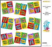 Sichträtsel - finden Sie zwei identische Karten mit Flipflops Lizenzfreies Stockbild