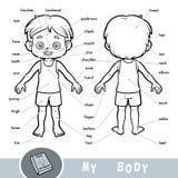 Sichtwörterbuch über den menschlichen Körper Meine Körperteile für einen Jungen vektor abbildung