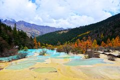 Sichuan Aba HUANGLONG landscape. Nature, Beauty Royalty Free Stock Image