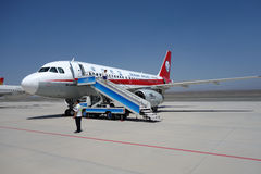 Sichuan Airlines Aeroplae in  Turpan Airport Stock Images