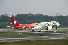 Sichuan Airlines` 1st Airbus A350 XWB stock images