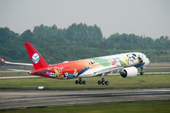 Sichuan Airlines` 1st Airbus A350 XWB stock photos