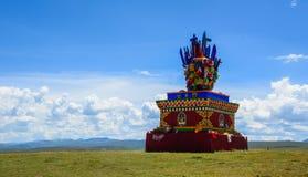 Golden stupa of Yarchen Gar in Tibet stock images