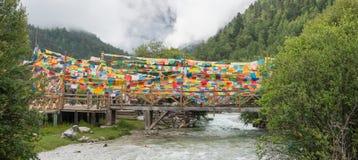 SICHUAN, CHINA - 23 DE JULHO DE 2014: Bandeira da oração na natureza Reser de Yading Imagens de Stock Royalty Free