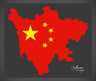 Sichuan China map with Chinese national flag illustration Stock Images
