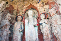 SICHUAN, CHINA - Mar 29 2015: Budda Statues at Huangze Temple. a. Famous historic site in Guangyuan, Sichuan, China stock photography