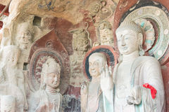 SICHUAN, CHINA - Mar 29 2015: Budda Statues at Huangze Temple. a. Famous historic site in Guangyuan, Sichuan, China royalty free stock images