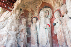 SICHUAN, CHINA - Mar 29 2015: Budda Statues at Huangze Temple. a famous historic site in Guangyuan, Sichuan, China. stock images