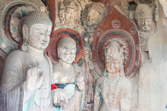 SICHUAN, CHINA - Mar 29 2015: Budda Statues at Huangze Temple. a. Famous historic site in Guangyuan, Sichuan, China stock photo