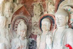 SICHUAN, CHINA - Mar 29 2015: Budda Statues at Huangze Temple. a. Famous historic site in Guangyuan, Sichuan, China stock image