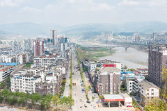 SICHUAN, CHINA - Mar 29 2015: Guangyuan city view from Huangze T. Emple. a famous historic site in Guangyuan, Sichuan, China stock images