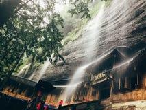 Sichuan, China, qingcheng Mountain. Heavy rain, at xuanyang cave. kung fu in Emei royalty free stock photography