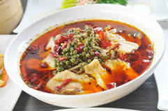 Sichuan cuisine. Pepper boiled fish fillet Royalty Free Stock Image