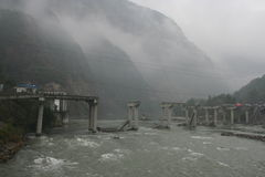 Sichuan earthquake. Bridge destroyed by the May 2008 earthquake in Sichuan province, China Stock Photography
