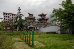 Destroyed building in 2008 Sichuan Earthquake Memorial Site. 2008 Sichuan Earthquake Memorial Site. Buildings after the big earthquake in Wenchuan, Sichuan stock photos
