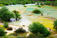 Sichuan huanglong multi-colored pools Royalty Free Stock Photography