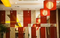Sichuan Spicy Modern Restaurant Chengdu China. Modern Red and White Spicy Sichuan Restaurant Chengdu China stock images