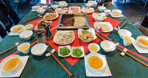 Sichuan steamboat. Delicious Sichuan steamboat on the table royalty free stock photo