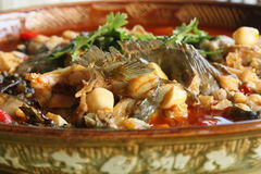 Sichuan style spicy curry catfish. Sprinkle with parsley Royalty Free Stock Images