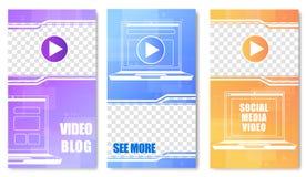 Sicial Media Video Blog Set of Vector Templates. stock illustration