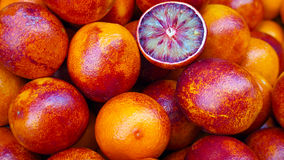 Sicilain blood oranges at fruit market, Valencia. Sicilain blood oranges at fruit market Royalty Free Stock Photo