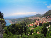 Sicilia. The sunbathed seaside town of Taormina is the quintessential destination for Sicilian culture and history royalty free stock image