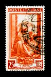 Sicilia - the orange, Provincial Occupations serie, circa 1950. MOSCOW, RUSSIA - NOVEMBER 26, 2017: A stamp printed in Italy shows Sicilia - the orange stock photography